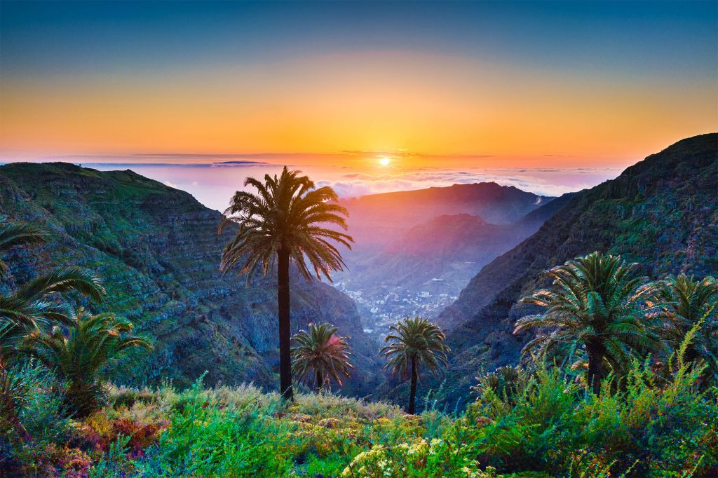 Ulraub-Fewo_0011_Amazing-tropical-scenery-with-palm-trees-and-mountains-at-sunset